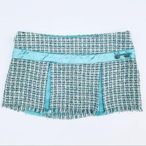 Hollister | Teal Tweed Pleated Mini Skirt - 5